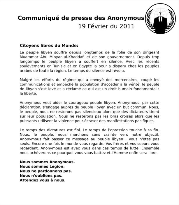 communiqué des anonymous du 19 février sur l'operation libya