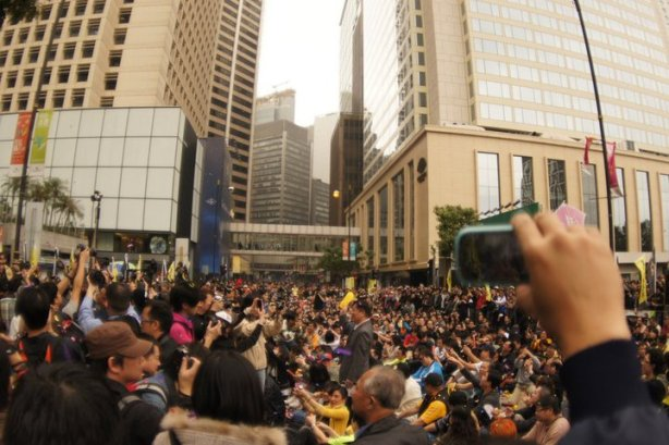 manifestation à Hong Kong le 6 mars en soutien de la révolution du jasmin