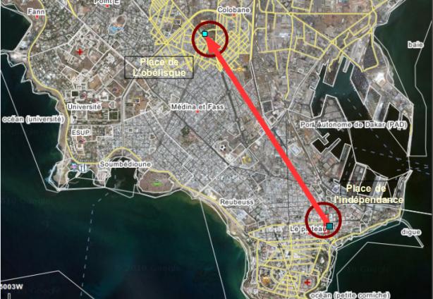 parcours de la manifestation du 19 mars à Dakar, de la place de l'indépendance vers la place de l'obélisque