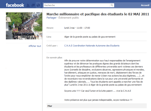 Appel à la marche lancé par la CNAE sur facebook