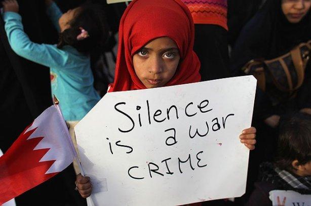 """""""le silence est un crime de guerre"""" message du Bahrein au monde entier"""