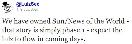 LulzSec annonce le control du site The Sun dans un message twitter