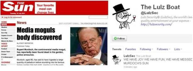 Capture d'écran du site The Sun piraté par LulzSec