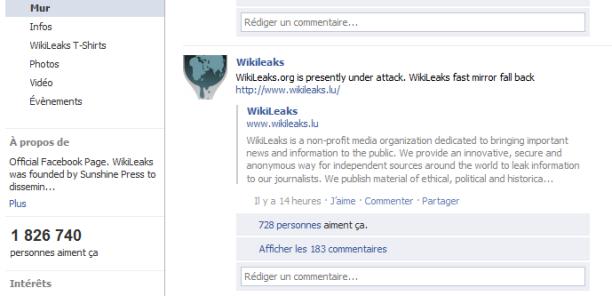 Message de wikileaks -WikiLeaks.org fait l'objet en ce moment d'une cyberattaque-