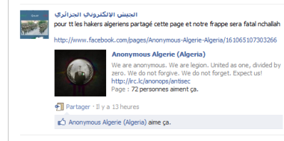 « Cette publication capturé de la page du groupe (armé électronique algérien, un groupe d'hacker loyal au gouvernement algérien), montre que ce groupe a voulu utilisé le nom d'anonymous pour regrouper le maximum d'hackers algériens afin de réussir leurs frappe,  l'attaque a échoué, le site était opérationnel durant toutes la nuit du 6 au 7 septembre ».