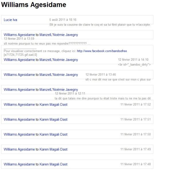 Totalité des messages émis et reçus par le profil facebook