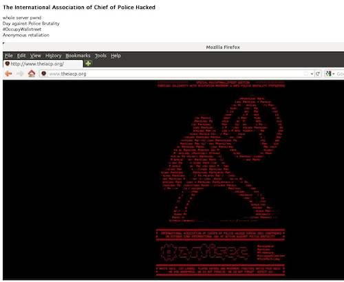 Le site de l'association international des chefs de police défacé par #antisec
