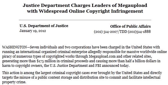 Capture d'écran d'une partie deu communiqué publié par le FBI 19-01-2012