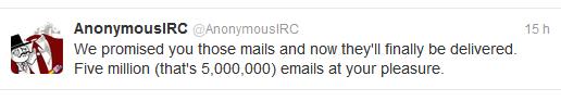Nous avons promis emails et maintenant sont finalement publiés. Cinq millions (C'est 5,000,000) emails pour vous faire plaisir.