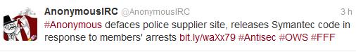 Anonymous déface le site du fournisseur de la police, publie les code de Symantec en représailles aux arrestations