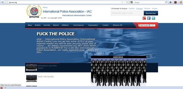 Capture d'écran du site de l'IPA piraté par Anonymous 27/04/2012 - 00h gmt