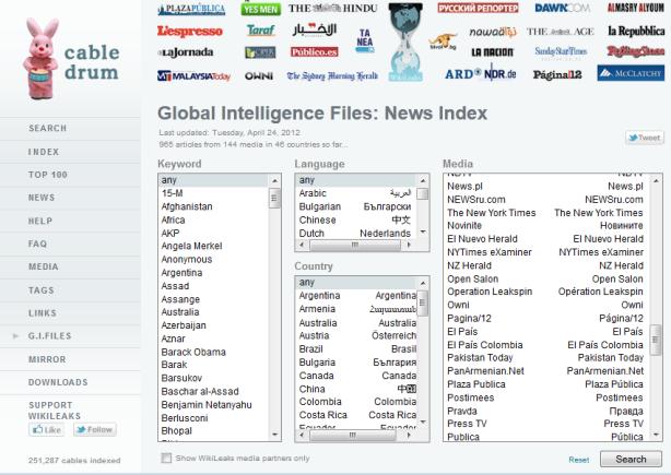 Cette capture d'écran montre que le blog de l'Opération Leakspin est cité par le moteur de recherche cabledrum de Wikileaks a coté des autres medias