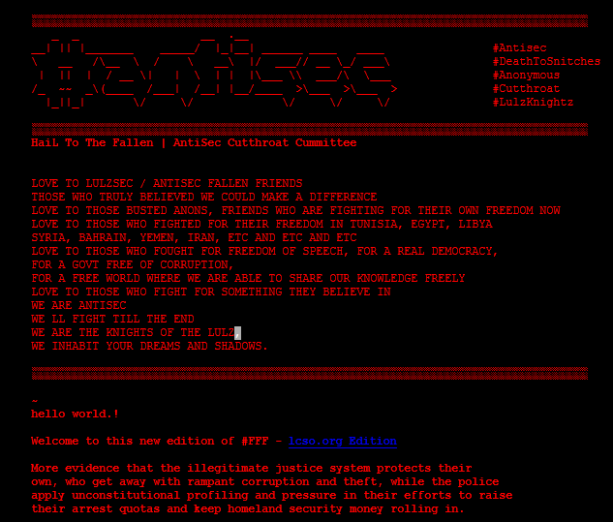 capture d'écran du site we du LCSO défacé par #AntiSec