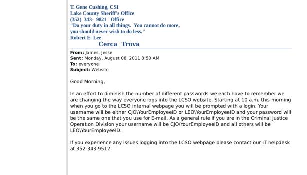 Une capture d'écran d'un email récupéré par Anonymous