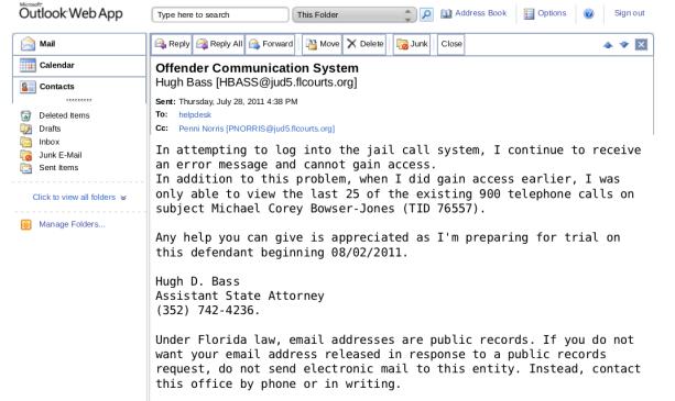 Une autre capture d'écran d'un email récupéré par Anonymous